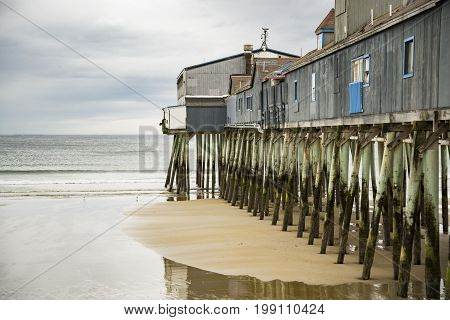 Pier at Old Orchard Beach on Saco Bay in York County Maine