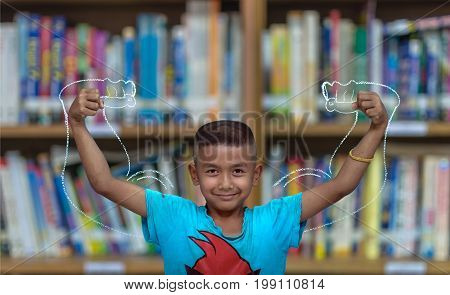 Asian strong children on Abstract blurred photo of library background education concept