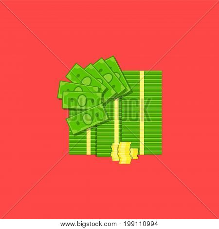 Bundle of cash and coins illustration colored on red background. Finance vector icon. EPS10