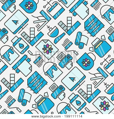 Digital printing seamless pattern with thin line icons. Vector illustration for web page, banner, print media.