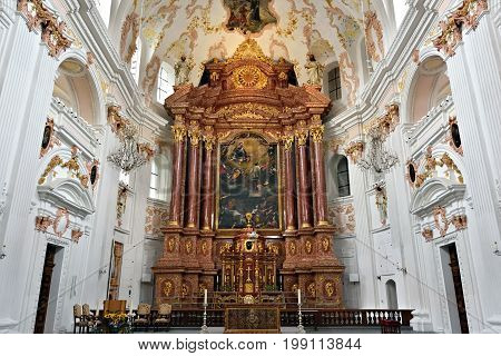 LUCERNE SWITZERLAND - JUNE 14 2017: Interior of Church of St. Leodegar or Hofkirche St. Leodegar in Lucerne Switzerland