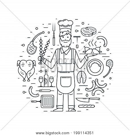 Chef and cooking design elements: meat on dish grill pan knife and fork sausage on a plate grilled sausages whole chicken salmon steak corkscrew and cork bottle and glasses beef steak lamb on bone shish kebab. Vector set with cook and kitchen symbols. Pro