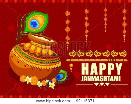 vector illustration of Happy Krishna Janmashtami background with pot of cream Dahi Handi