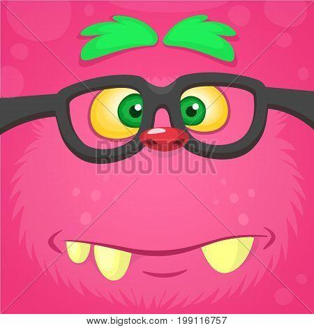 Cartoon smart monster face wearing glasses. Halloween vector illustration of furry pink monster