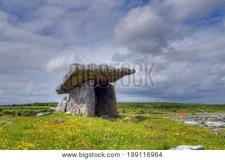 The Poulnabrone Dolmen tomb the Burren, Ireland