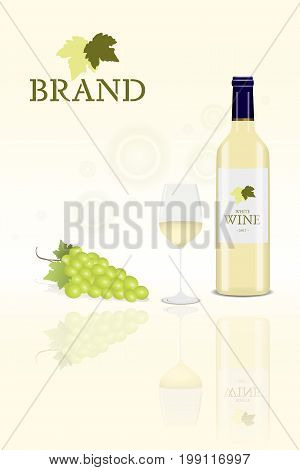 Brand. Bottle of white wine with glass and a bunch of grapes with logo.