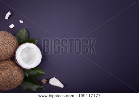A top view of a set of coconuts on a dark blue background. Nutritious exotic fruits for summer desserts and delicious beverages. Close-up of a composition of three cocos. Copy space.