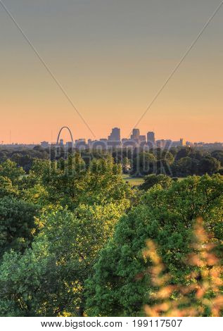 The Gateway Arch and St. Louis Missouri Skyline.