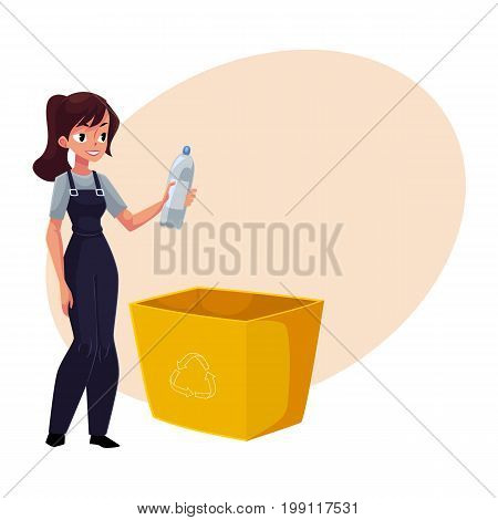 Young woman holding plastic bottle, waste, garbage recycling concept, cartoon vector illustration with space for text. Full length portrait of woman with plastic bottle, garbage collection