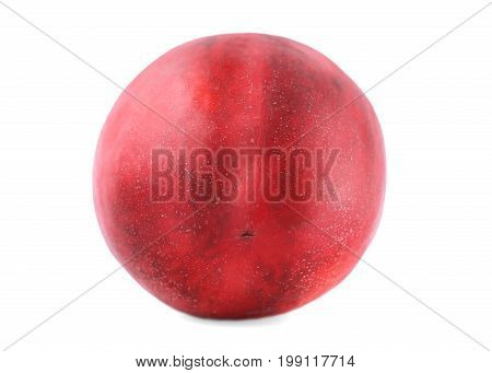A close-up picture of a whole fresh red nectarine, isolated over the white background. Healthful and organic ripe fruit. Ingredients for nutritious summer breakfasts and desserts.