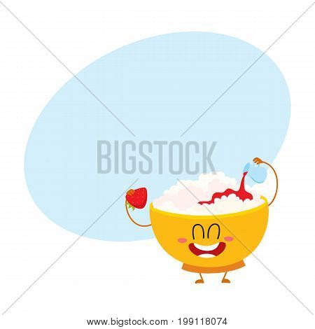 Funny smiling bowl of cottage cheese character pouring strawberry jam over itself, cartoon vector illustration with space for text. Cute and funny cottage cheese bowl character, dairy product