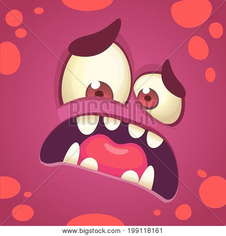 Cartoon angry monster face. Vector Halloween red monster scared. Monster mask