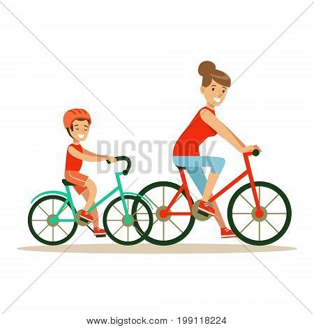 Smiling woman and boy riding bikes, mom and son having good time together colorful characters vector Illustration on a white background