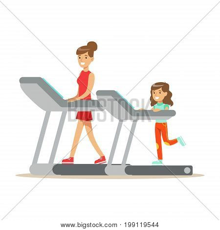 Smiling woman and girl running on a treadmill, mom and daughter having good time together colorful characters vector Illustration on a white background