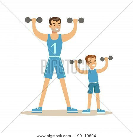 Smiling man and boy exercising with dumbells, dad and son having good time together colorful characters vector Illustration on a white background