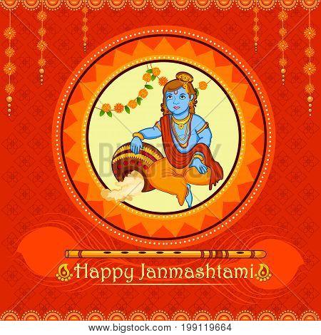 vector illustration of Lord Krishna stealing makhaan in Happy Janmashtami