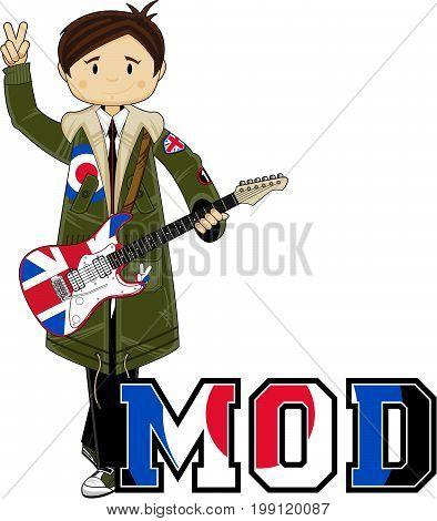 Cartoon Mod Boy with Guitar Vector Illustration