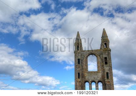 Ruins of St. Andrews Cathedral in St. Andrews Scotland.