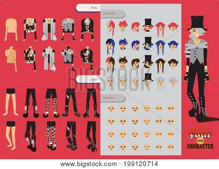 Constructor with spare parts for lovely visual kei boy. Different hairstyles emotions accessories posing for hands and legs positions. Creative man collection with subculture oshare style gothic