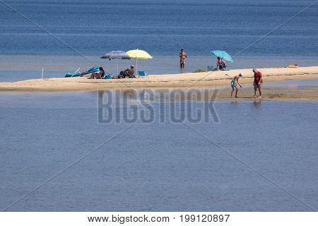 CHALKIDIKI, CENTRAL MACEDONIA, GREECE - AUGUST 26, 2014: Seascape of Livari Beach Vourvourou at Sithonia peninsula, Chalkidiki, Central Macedonia, Greece