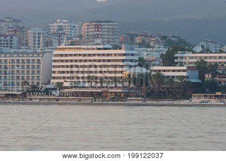 AVSALLAR TURKEY - JULY 08 2015: Anatolian coast. Popular among German tourists five star Rubi Hotel. View from the sea.