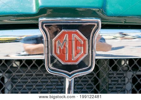 TURIN, ITALY - JUNE 10, 2017: MG car logo on the car grill