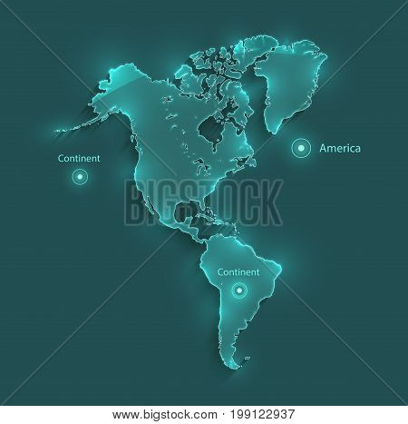 America map light neon vector continent template