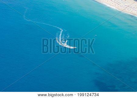 Alanya, Turkey - July 09, 2015: Mediterranean Sea. Traditional Entertainment Resort Of Alanya. Water