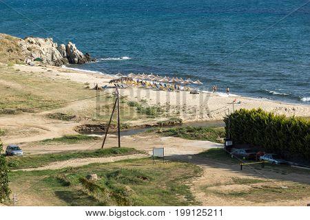 CHALKIDIKI, CENTRAL MACEDONIA, GREECE - AUGUST 26, 2014: Seascape of Platanias Beach at Sithonia peninsula, Chalkidiki, Central Macedonia, Greece