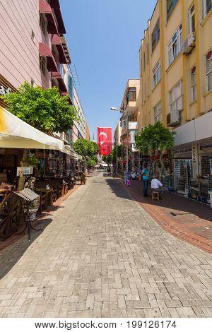 ALANYA TURKEY - JULY 09 2015: The shopping street of Alanya. Alanya - a popular holiday destination for European tourists.