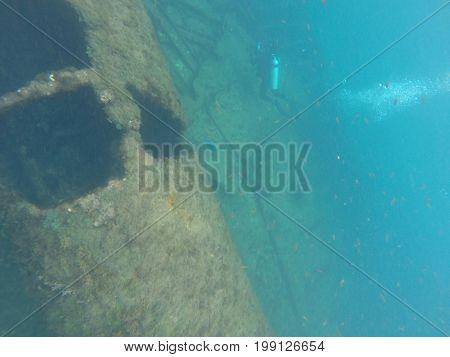 Ship Eleani Stathatos shipwreck and Island Fernando de Noronha