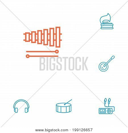 Collection Of Headphones, Percussion, Turntable And Other Elements.  Set Of 6 Melody Outline Icons Set.