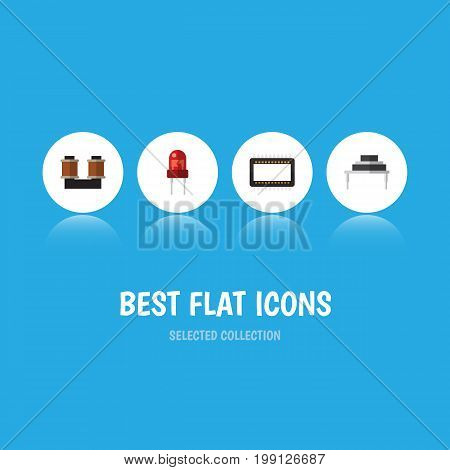 Flat Icon Electronics Set Of Recipient, Destination, Coil Copper And Other Vector Objects