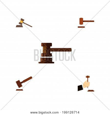 Flat Icon Court Set Of Government Building, Justice, Defense And Other Vector Objects