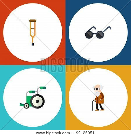 Flat Icon Handicapped Set Of Ancestor, Spectacles, Stand Vector Objects