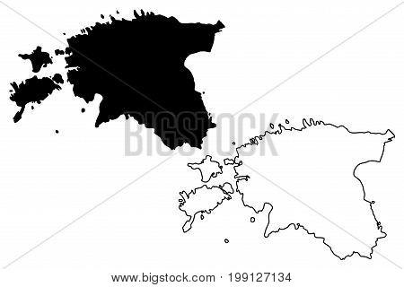 Estonia map vector illustration , scribble sketch Estonia