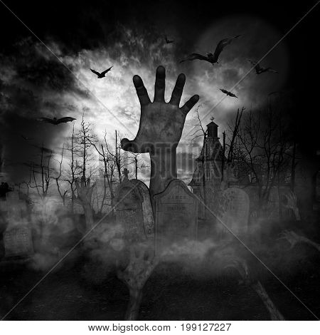 3D illustration of a halloween concept background of zombies or undead rising from graveyard