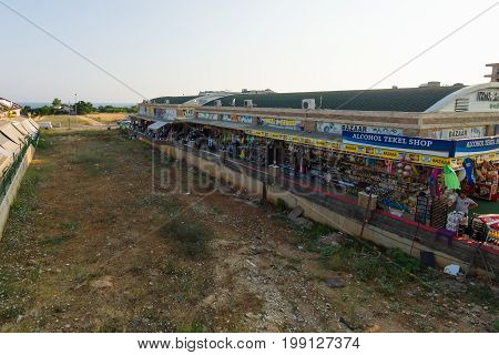 AVSALLAR TURKEY - JULY 10 2015: A street market in the village. Anatolian coast - a popular holiday destination for European tourists.
