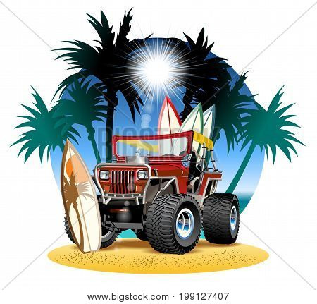 Vector cartoon 4x4 car on beach. Available EPS-10 vector format separated by groups and layers