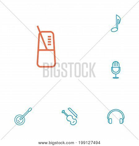 Collection Of Amplifier, Pace, Musical Sign And Other Elements.  Set Of 6 Melody Outline Icons Set.