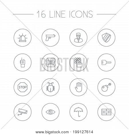 Collection Of Weapon , Hand , Alarm Elements.  Set Of 16 Security Outline Icons Set.