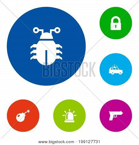Collection Of Alarm, Shot, Patrol And Other Elements.  Set Of 6 Security Icons Set.