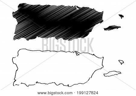 Puerto Rico map vector illustration , scribble sketch Puerto Rico