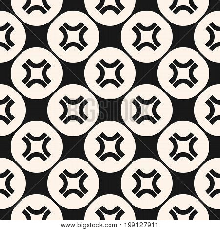 Simple vector seamless pattern with curved crosses in circular lattice. Funky style background, hipster, fashion element. Abstract monochrome geometric texture. Design for prints, fabric, stationery.