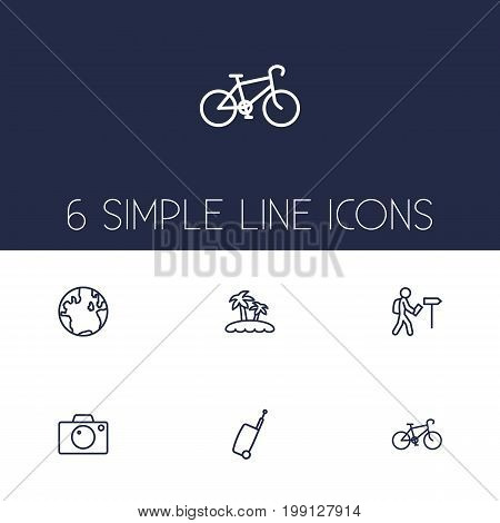 Collection Of Globe, Palm, Photo And Other Elements.  Set Of 6 Travel Outline Icons Set.
