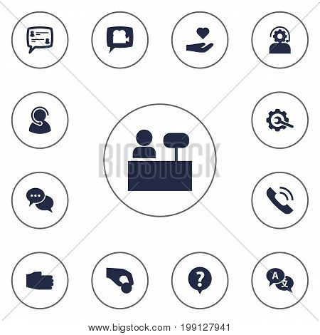 Collection Of Translate, Speaker, Technical And Other Elements.  Set Of 13 Maintenance Icons Set.