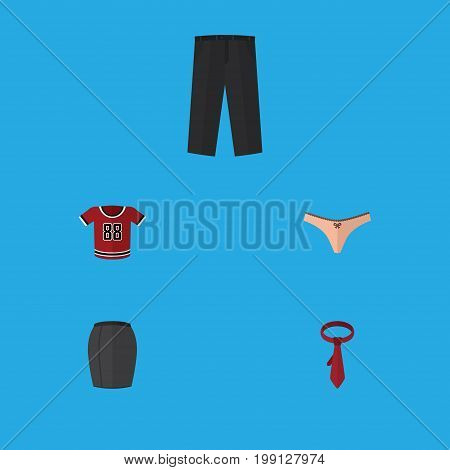 Flat Icon Dress Set Of T-Shirt, Pants, Cravat And Other Vector Objects