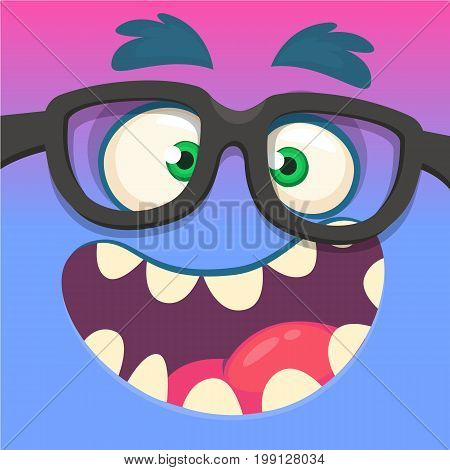 Cartoon monster face wearing eyeglasses. Vector Halloween funny blue and pink smart monster square avatar