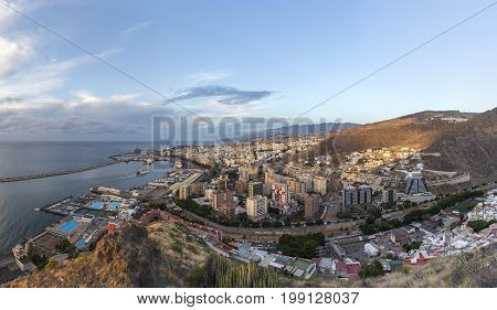 Aerial morning view of Santa Cruz, capital of Canary Islands. Spain