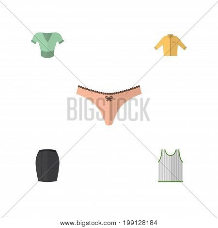 Flat Icon Dress Set Of Casual, Singlet, Lingerie And Other Vector Objects